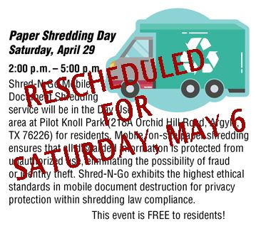 Paper Shredding Rescheduled