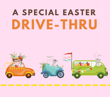 Easter Bunnies driving cars to Easter Drive Thru Event